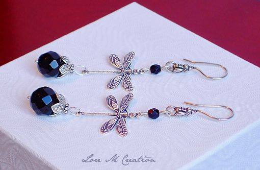 earrings, dragonflies, boucles oreilles, libellules, argent, onyx, bijou, Lore M