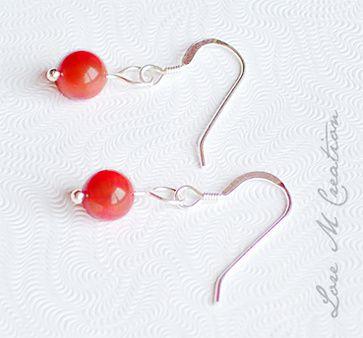 silver earrings, corail, bijou, boucles oreilles corail argent, Lore M