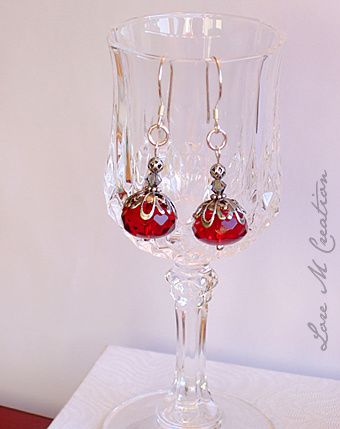 georgeous red cristal, earwire sterling silver, boucles oreilles cristal rouge, bijou, Lore M