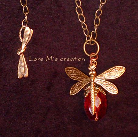 collier libellule, dragonfly necklace