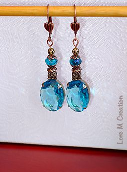 earrings, blue cristal, boucles oreilles, cristal bleu, ocean, bijou, nature, Lore M