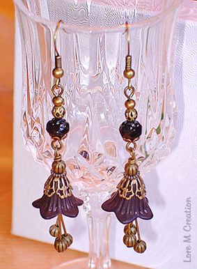 earrings, black flowers, boucles d'oreilles, fleurs, roses noires, vintage, bijou, Lore M