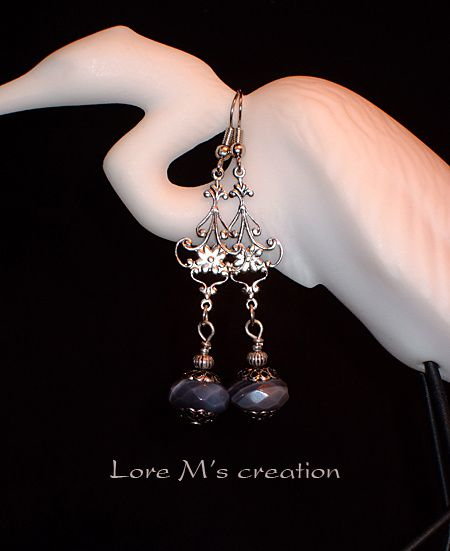 boucles d'oreilles argent perles earrings