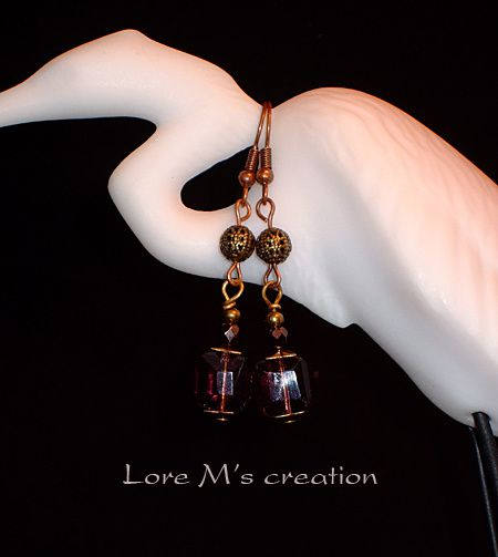 boucles d'oreilles grenat earrings