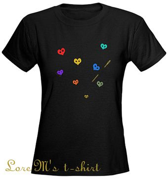 t-shirt, colors, hearts buttons, fun, valentine, mother's day, coeurs sur t-shirts, Lore M