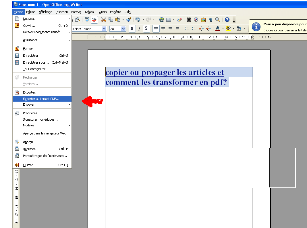 Copier transformer en pdf et propager les articles l - Comment convertir un pdf en open office ...