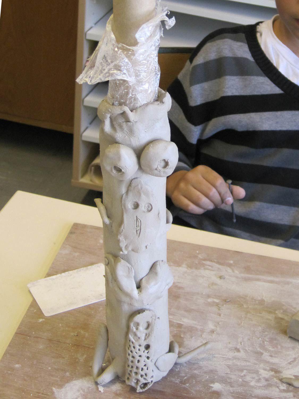 Hervorragend Sculpture en argile Totems - CE1 Rillieux la Pape 2012 - Artiste  HY45