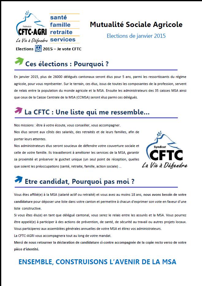 Elections MSA 2015 - Profession de foi CFTC