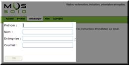MOS Solo : Formulaire pour télécharger le logiciel