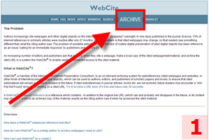WebCite : menu Archive