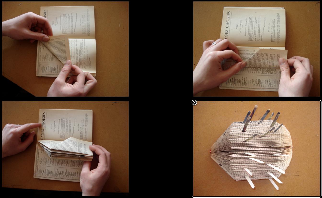 recycler un vieux livre en h risson le bateau livre. Black Bedroom Furniture Sets. Home Design Ideas