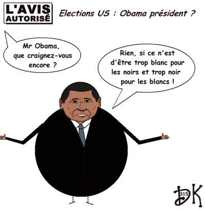 Tags : élection présidentielle Américaine, USA 2008, Barack Obama, John Mc Cain, Sarah Palin pas nue, Joe Biden, Martin Luther King, I had a dream, Etats Unis d'Amérique, Washington, George W. Bush,métis, noir, black, racisme, racistes, KKK, Hillary Clinton, Bill Clinton, John F. Kennedy,l'avis autorisé, dessin humoristique, gag, humour politique