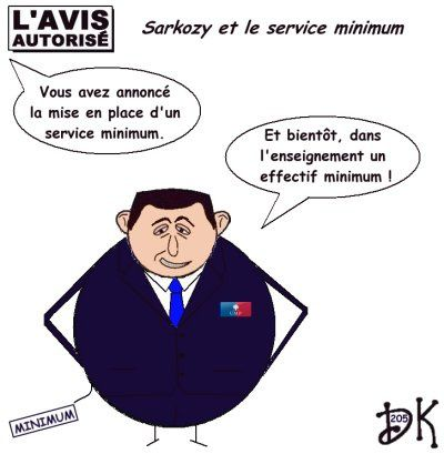 Tags : Nicolas Sarkozy, service minimum, grève des enseignants, suppression de postes, RGPP, André Santini, Bernard Kouchner, Jean-Marie Bockel, Claude Allègre, brassard, Japon, service public, Xavier Darcos, dessin, humour
