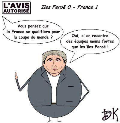 Tags : équipe de France, football, Raymond Domenech, sélectionneur national, coupe du monde, qualifications, îles Feroë, Andre-Pierre Gignac, ballon, victoire, but, dessin humoristique, parodie, caricature, image, joke, humour, gag