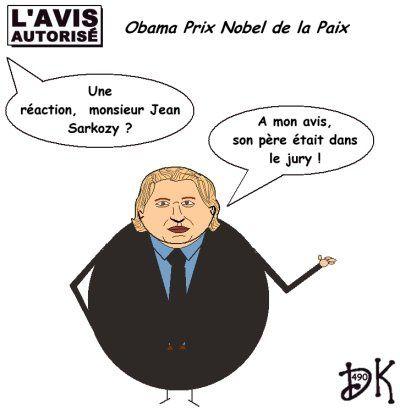 Tags : Barack Obama prix Nobel de la Paix, Jean Sarkozy, père, Nicolas sarkozy, jury, piston, dessin humoristique,gag politique, humour, image, joke, drôle, caricature, parodie