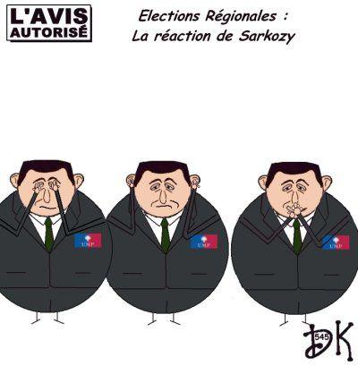 Tags : réaction, Nicolas Sarkozy, ump, gouvernement, défait, raclée, branlée, élections régionales, 13 mars 2010, les 3 singes, rien vu, rien entendu, rien dit, dessin humoristique, gag politique, caricature, parodie, image, humour, joke, drôle, l'avis autorisé, dessin de presse, dk