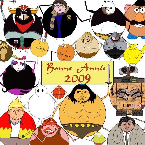 Tags : bonne année 2009, l'avis des Héros, Martin Mystère, Blurp!, Raymond, Columbo, Conan le barbare, Wall-E, Arthur le Fantôme, Nono le petit robot, Creepie, Pikachu, Robocop, Rahan, Les shadoks, vil Coyote, Goldorak, Harry Potter, Po le kung-fu panda, Monsieur Patate