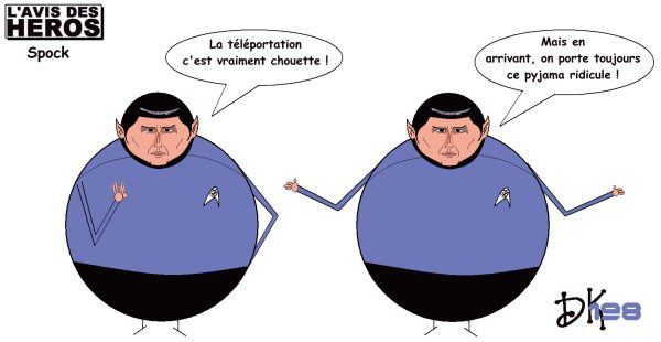 Tags : Spock, Star Trek, Enterprise, téléportation, pyjama ridicule, Vulcain, série tv, sf, science fiction, l'avis des héros, strip humoristique, gag, image, joke, parodie, caricature, humour, dessin