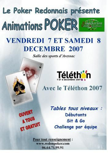 affiche t l thon 2007 club de poker redon. Black Bedroom Furniture Sets. Home Design Ideas