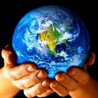 Gods hands earth globe web