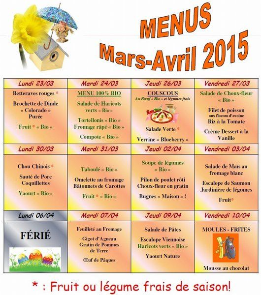 mini-Menu Mars Avril 2015
