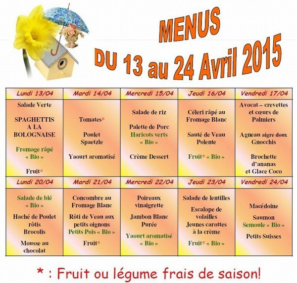 mini-Menus fin avril