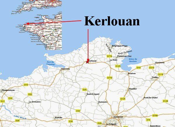 Carte Kerlouan Bretagne.Situation Geographique Vacanceskerlouan