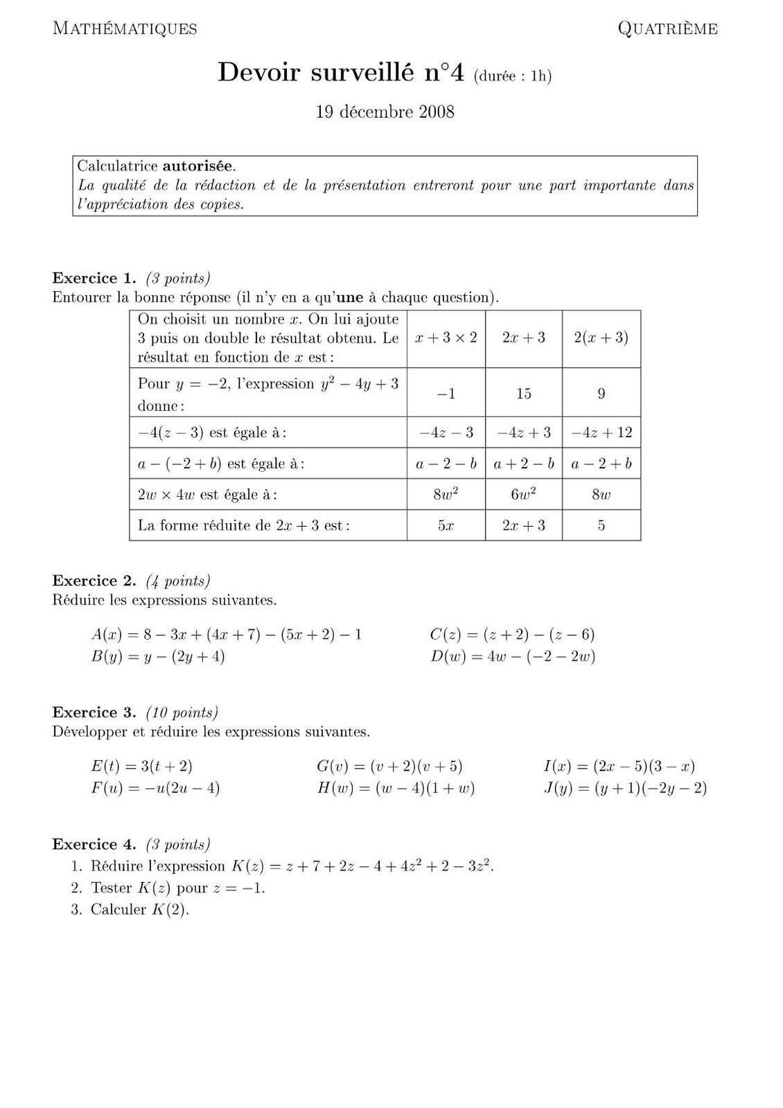 dm de mathematique 4eme