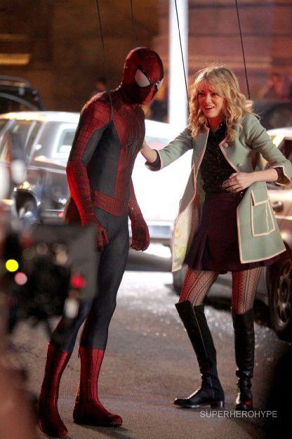 The Amazing Spider-Man 2 - Tournage Spidey et Gwen 05