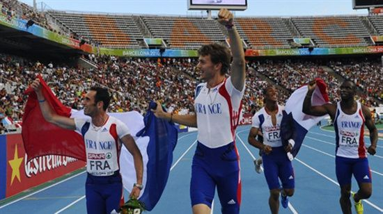 Barcelone 2010 relais 4x100mh medaille or