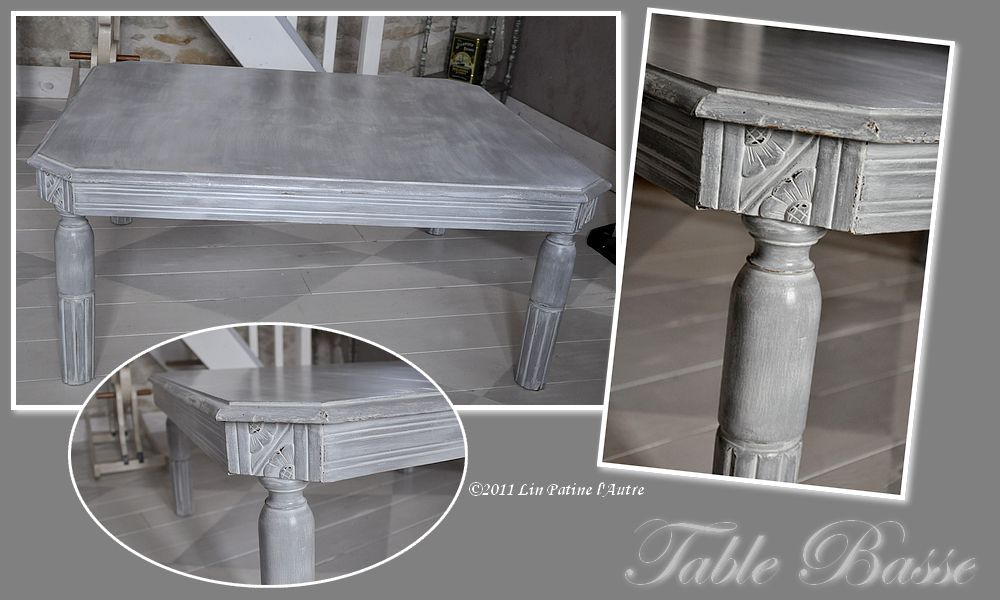 Table basse patin lin patine l 39 autre - Patiner une table ...
