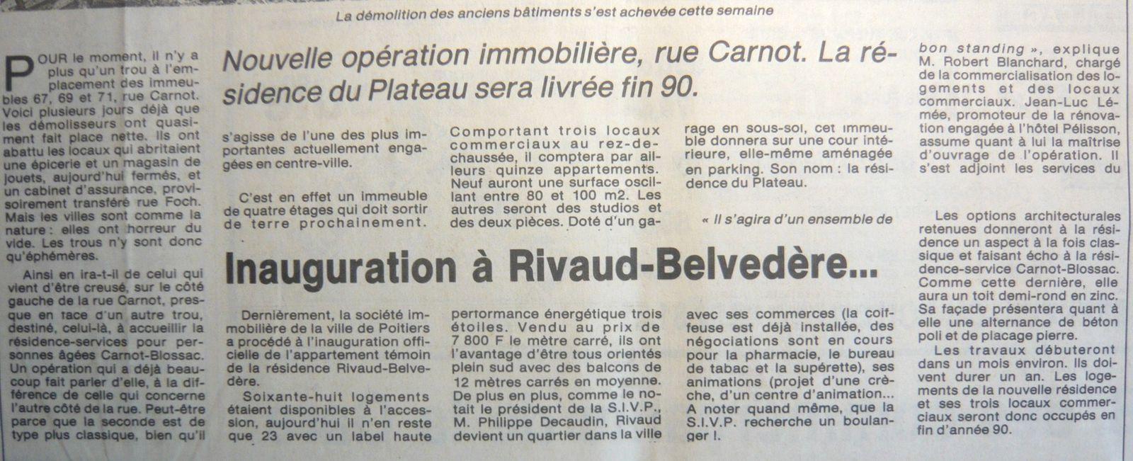 Article sur travaux rue Carnot