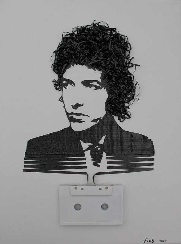 Bob-Dylan--Cassette-tape-on-canvas--2009.jpeg