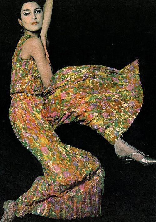 Benedetta Barzini wearing an outfit by Jean Louis, 1966