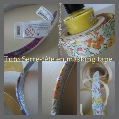 serre t te en masking tape liberty tuto diy que cache ma boite belette. Black Bedroom Furniture Sets. Home Design Ideas