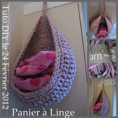 tuto diy hanging basket crochet sac linge que. Black Bedroom Furniture Sets. Home Design Ideas