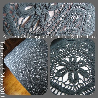 teinture uniforme pour couvre lit au crochet que cache ma boite belette. Black Bedroom Furniture Sets. Home Design Ideas