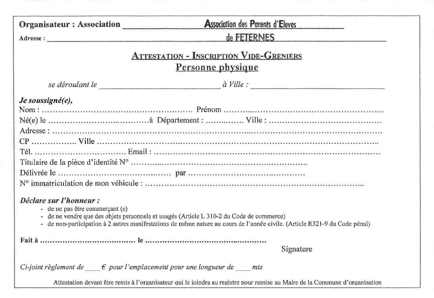 Attestation inscription vide grenier
