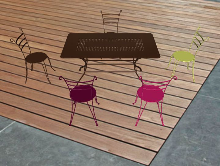 chaises en fer forgé Fermob Lido rouille + fushia ou muscade ...