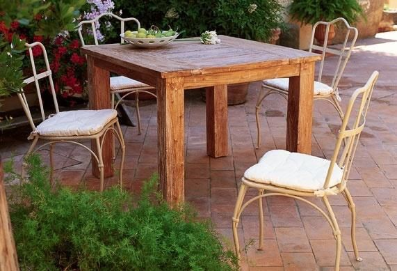 cherche table de jardin rectangle, carrée ou ronde en bois ...