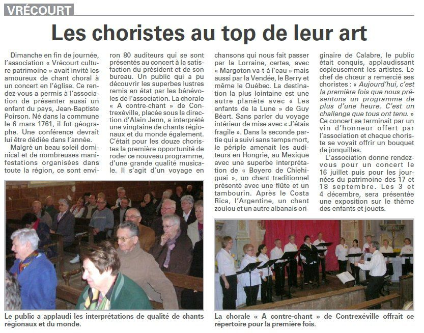 vrecourt chant mars 2011