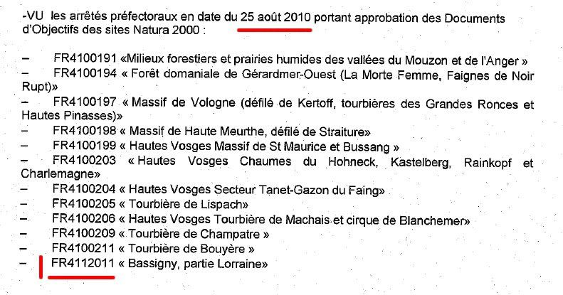 approbation natura 2000 aout 2010