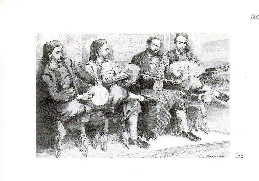 Musiciens juifs tunisiens Fusain et lavis sur papier, Eugène Burnand (1850-1921), école suisse.