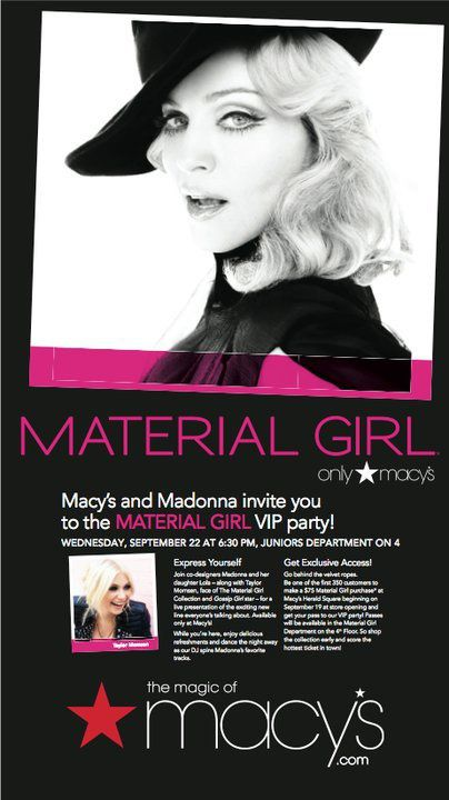 Madonna's Material Girl Dance Party at Macy's: Flyer
