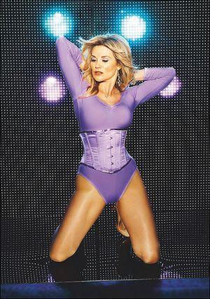 UK TV presenter Anthea Turner looking like Madonna