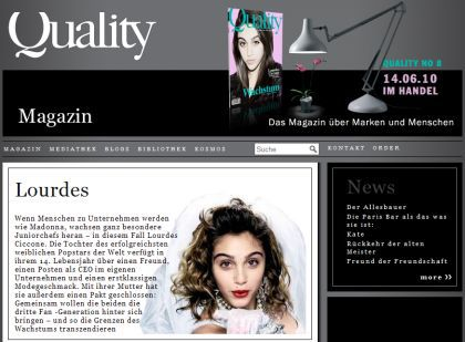 On Madonna's daughter Lourdes on German Quality magazine cover at 13