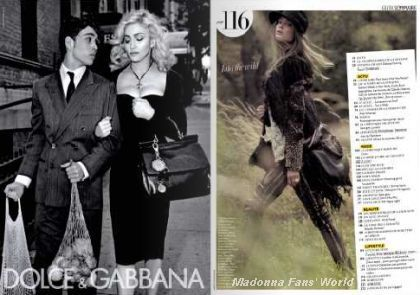 Sixth D&G Autumn-Winter 2010/11 ad with Madonna in French magazine