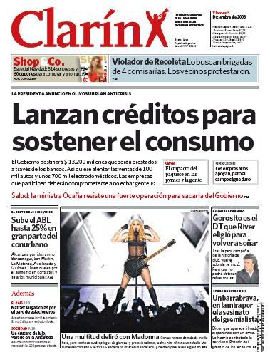 Madonna on the cover of Argentine newspaper ''Clarin''