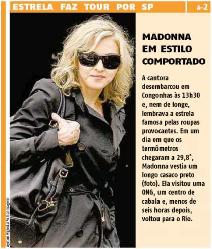 Madonna on the cover of Brazilian newspaper ''Agora'', Nov. 13, 2009