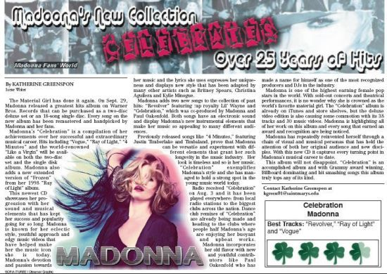 ''Celebration'' Review by NDSMOBSERVER: Madonna's new collection ''celebrates'' 25 years of hits